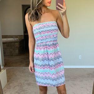 Shoshanna 100% Silk Strapless Chevron Dot Dress